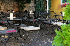 Empty terrace of an romantic cafe in Zagreb, Croatia, Europe stock photography