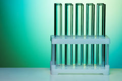 Empty test tubes organized and fixed in rows Stock Photography
