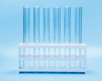 Empty test tubes in rack Royalty Free Stock Image