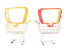 Empty text bubble in a shopping cart Royalty Free Stock Photography
