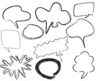 Empty text clouds. Empty speech bubbles, freehand  illustration Royalty Free Stock Photos