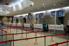 Empty Thai Air and other airline check in counters at Penang International Airport Malaysia Stock Photos