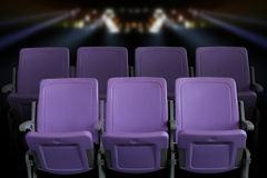 Empty theater auditorium or cinema with purple seats Royalty Free Stock Photography