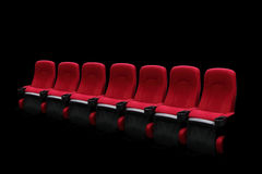 Empty theater auditorium or cinema with red seats Stock Image