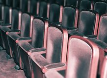 Empty theater chairs, retro auditorium Royalty Free Stock Photos