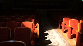Empty theater seats ready for the big show. stock footage