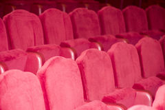 Empty theater seats. Empty red seats in a theater Royalty Free Stock Photos