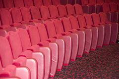 Empty theater seats. Empty red seats in a theater Royalty Free Stock Image
