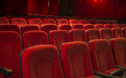 Empty theater seats. Empty red seats in a theater Stock Photography