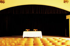 Empty theatre 2. Empty seats and stage in a vintage theatre Royalty Free Stock Image
