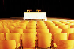 Empty theatre 3. Empty seats and stage in a vintage theatre Royalty Free Stock Photography