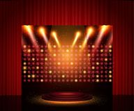 Empty theatre stage with curtain. Background for show, presentation, concert, design. Empty theatre stage with red curtain. Background for show, presentation royalty free illustration