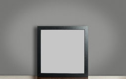 Empty Thick black photo frame on gray background with clipping path. stock image