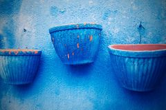 Empty three flowerpot in retro style Royalty Free Stock Images