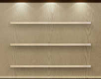 Empty three wood shelf on wood decorative wall Stock Photography