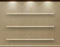 Empty three wood shelf on wood decorative wall stock photography