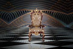 Empty throne in hall. Abstract design of empty throne in palace hall stock image
