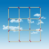 Empty tick-tack-toe game made of matches. Game of tick-tack-toe with empty cases made of matches on a blue sky background Vector Illustration