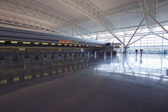 Empty ticket counter and reflections at JFK International Airport, New York City, New York Stock Photography