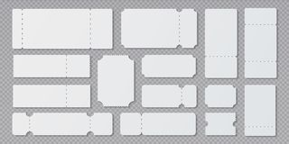 Free Empty Ticket Templates. Lottery Coupon Mockup, Blank Concert And Movie Ticket Layouts. Vector Ruffle Edge Different Royalty Free Stock Images - 150039669