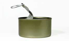 Empty tin can. Empty can that are already open.On a white background Royalty Free Stock Photography