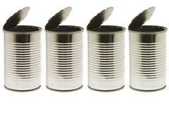 Empty tin cans Royalty Free Stock Photos