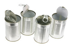 Empty Tin Cans. On White Background Stock Photography