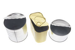 Empty Tin Cans. On Isolated White Background Royalty Free Stock Photography