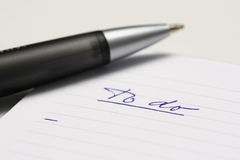 Empty To Do list with pen.  Royalty Free Stock Images