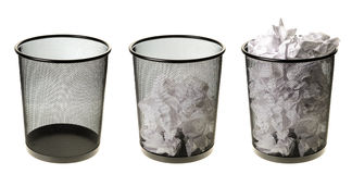 Empty To Full Garbage Cans. Three garbage cans going from empty to full, isolated on a white background Stock Photos