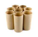 Empty toilet paper roll Isolate on White Background. Empty toilet brown paper rolls stock photos