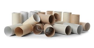 Empty toilet paper rolls. On white background stock images