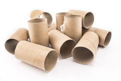 Empty toilet paper rolls isolated on white Royalty Free Stock Photo