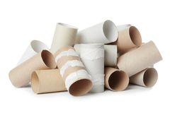 Empty toilet paper rolls royalty free stock photography