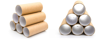 Empty toilet rolls stack up Stock Photo