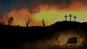 Empty Tomb Exterior with Golden Skies. Features an empty tomb with the stone rolled away with a silhouette of a landscape with three crosses and golden animated