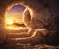 Free Empty Tomb With Crucifixion At Sunrise Stock Image - 210964581