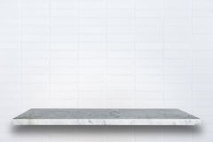 Empty top of natural stone shelves and stone wall background Stock Photo