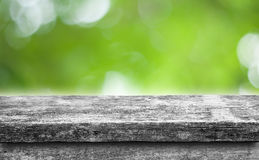 Empty top of natural wood  shelves isolated blur bokeh nature  background Royalty Free Stock Photo