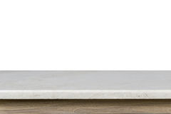 Empty Top Of White Mable Stone Table Isolated On White Background Stock Image