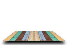 Empty top of old colorful wooden table  isolated on white backgr Royalty Free Stock Photo