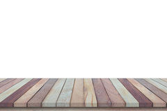 Empty top view of wooden table or counter (shelf) isolated on wh Royalty Free Stock Photo