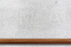 Empty top of wood shelves on the white terrazzo stone wall backg. Round. For product display, put product on the top Royalty Free Stock Image