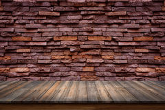 Empty top of wood table on old stone wall background. Stock Photography