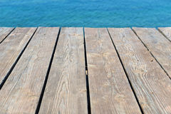 Empty top of wooden background and view to the sea Stock Photo