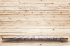 Empty top of wooden shelf or counter isolated on white backgroun Stock Photo