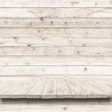 Empty top of wooden shelf or counter on wood background. For product display stock photo