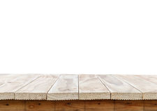 Empty top of wooden table or counter isolated on white backgroun Royalty Free Stock Photo