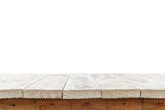 Empty top of wooden table or counter isolated on white backgroun Royalty Free Stock Images