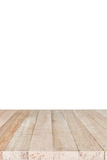 Empty top of wooden table or counter isolated on white backgroun Stock Images